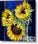 Three Sunny Flowers Metal Print by Irina Sztukowski