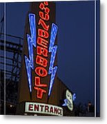 Thunderbolt Rollercoaster Neon Sign Metal Print by Edward Fielding
