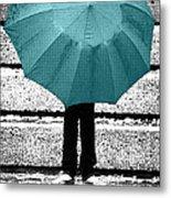 Tiffany Blue Umbrella Metal Print by Lisa Knechtel