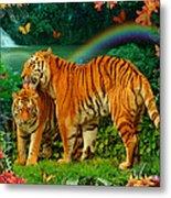 Tiger Love Tropical Metal Print by Alixandra Mullins