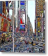 Time Square New York 20130503v6 Metal Print by Wingsdomain Art and Photography