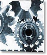 Titanium Aerospace Parts In Blue Metal Print by Christian Lagereek