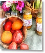Tomatoes And Peaches Metal Print by Susan Savad