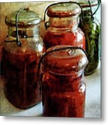 Tomatoes And String Beans In Canning Jars Metal Print by Susan Savad