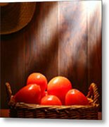 Tomatoes At An Old Farm Stand Metal Print by Olivier Le Queinec