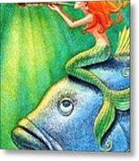 Toot Your Own Seashell Mermaid Metal Print by Sue Halstenberg