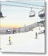 Top Of The Mountain At Seven Springs Metal Print by Albert Puskaric