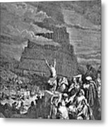 Tower Of Babel Bible Illustration Metal Print by