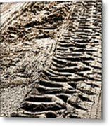 Tractor Tracks In Dry Mud Metal Print by Olivier Le Queinec