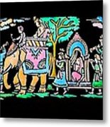Traditional Indian Ancient Wedding Procession  Emboss Painting Metal Print by Bhavana Menon