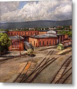 Train - Entering The Train Yard Metal Print by Mike Savad