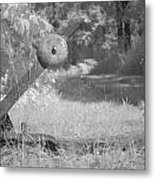 train track change in infrared light in the forest in Netherlands Metal Print by Ronald Jansen