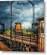 Train - Yard - On The Turntable Metal Print by Mike Savad
