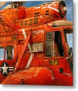 Transportation - Helicopter - Coast Guard Helicopter Metal Print by Mike Savad