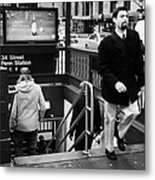 Travellers Exiting And Entering 34th Street Entrance To Penn Station Subway New York City Metal Print by Joe Fox