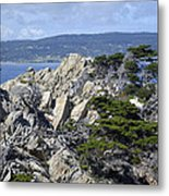 Trees Amidst The Cliffs In California's Point Lobos State Natural Reserve Metal Print by Bruce Gourley