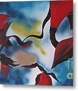 Triphids In Red Metal Print by Barbara Petersen