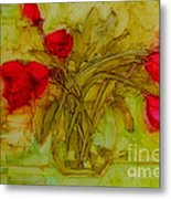Tulips In A Glass Vase Metal Print by Patricia Awapara