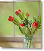 Tulips In Mason Jar Metal Print by Kay Pickens