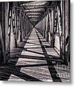 Tulsa Pedestrian Bridge In Black And White Metal Print by Tamyra Ayles