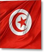 Tunisia Flag Metal Print by Les Cunliffe