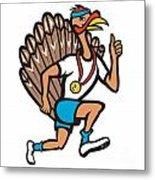 Turkey Run Runner Thumb Up Cartoon Metal Print by Aloysius Patrimonio
