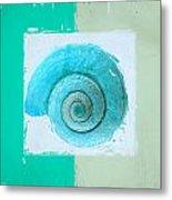 Turquoise Seashells X Metal Print by Lourry Legarde