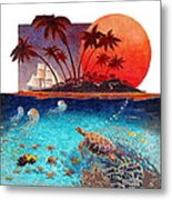 Turtle And Jelly Soup Metal Print by David  Chapple