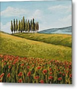 Tuscan Field With Poppies Metal Print by Melinda Saminski