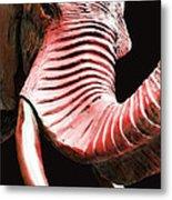 Tusk 4 - Red Elephant Art Metal Print by Sharon Cummings