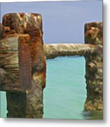 Twin Rusted Dock Piers Of The Caribbean Metal Print by David Letts
