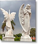 Two Angels With Cross Metal Print by Terry Reynoldson
