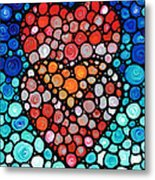 Two Hearts - Mosaic Art By Sharon Cummings Metal Print by Sharon Cummings