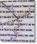 Two Poems On Marble Metal Print by Moira Rowe