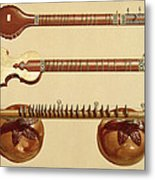 Two Sitars And A Rudra Vina, Indian Metal Print by Alfred James Hipkins