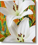 Two White Lilies Metal Print by Garry Gay