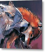 Two Wolves Metal Print by Mark Adlington