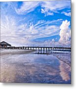 Tybee Island Pier On A Beautiful Afternoon Metal Print by Mark E Tisdale