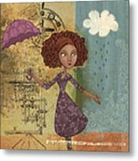 Umbrella Girl Metal Print by Karyn Lewis Bonfiglio