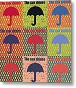Umbrella In Pop Art Style Metal Print by Toppart Sweden