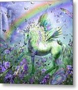 Unicorn Of The Butterflies Metal Print by Carol Cavalaris