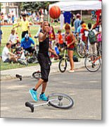 Unicyclist - Basketball - Street Rules  Metal Print by Mike Savad