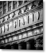 Union Station Chicago Sign In Black And White Metal Print by Paul Velgos