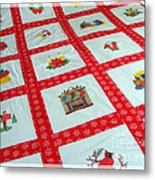 Unique Quilt With Christmas Season Images Metal Print by Barbara Griffin