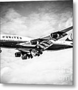 United Airlines Boeing 747 Airplane Black And White Metal Print by Paul Velgos