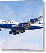 United Airlines Boeing 747 Airplane Landing Metal Print by Paul Velgos