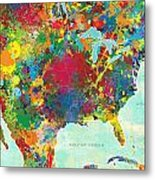 United States Map Metal Print by Gary Grayson