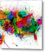 United States Paint Splashes Map Metal Print by Michael Tompsett