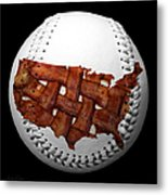 Us Bacon Weave Map Baseball Square Metal Print by Andee Design
