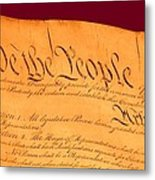 Us Constitution Closeup Violet Red Bacjground Metal Print by L Brown